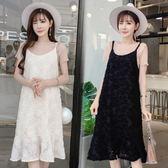 雪紡吊帶連身裙洋裝新品夏季新款正韓女裝短袖T恤中長版背帶裙洋裝兩件套S-2XL