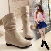 雪靴   內增高女靴子坡跟平底短靴磨砂中筒靴加絨馬丁靴