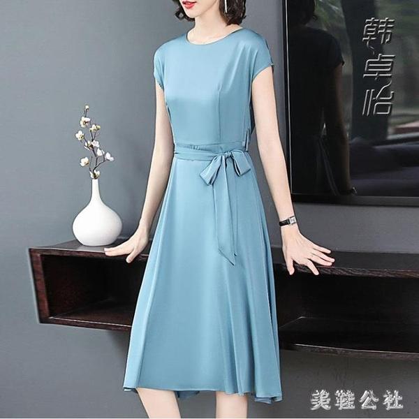短袖洋裝 30一40氣質高端洋氣35闊太太45顯瘦小個子雪紡連身裙 LF2329『美鞋公社』