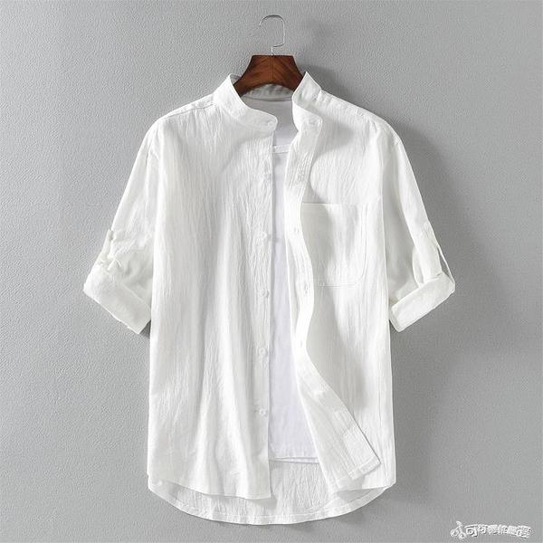 夏季翻領條紋亞麻七分袖襯衫男士寬鬆7分中袖薄款休閒棉麻襯衣潮 Cocoa