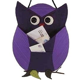 【波克貓哈日網】開運貓頭鷹 ◇ 置物掛飾 ◇  《紫色》和風拼布掛飾~~放信件或帳單