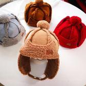 男女童保暖毛帽新款潮寶寶保暖帽子男女兒童鹿皮絨帽嬰兒套頭帽毛球護耳帽子