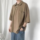 夏季港風潮牌原宿風polo衫ins短袖t恤男韓版潮男chic五分半袖寬鬆