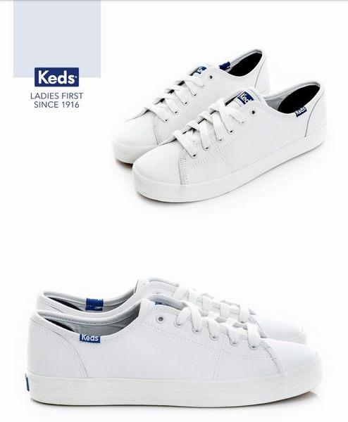KEDS 時尚運動基本綁帶皮質休閒鞋 白 173W132222 女鞋
