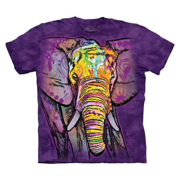 【摩達客】(預購)(大尺碼4XL、5XL)美國進口The Mountain 彩繪大象 純棉環保短袖T恤(10416045129a)