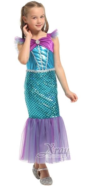 亮麗美人魚裝,萬聖節/兒童/服飾/舞會/派對/表演/角色扮演/愛麗兒/迪士尼公主,節慶王【W380067】