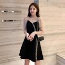 網紗洋裝 赫本風黑色小禮服夏季修身顯瘦氣質網紗拼接泡泡袖連身裙-Ballet朵朵