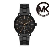 Michael Kors Blake 酷炫黑三眼計時男錶 黑色不鏽鋼鍊帶 43MM MK8703