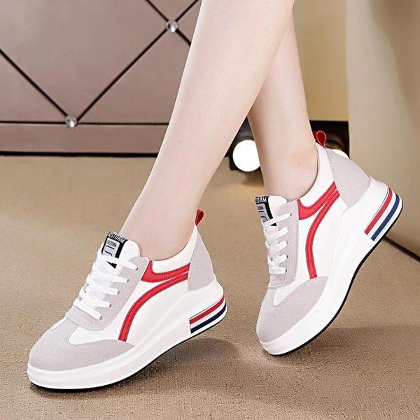 内增高鞋 女鞋韓版百搭松糕跟休閑鞋厚底系帶顯瘦坡跟單鞋