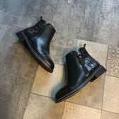 黑色短靴女2019新款時尚圓頭加絨側拉鏈馬丁靴帥氣單靴潮