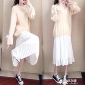 秋季連衣裙女2020年新款仙女超仙森系長袖毛衣吊帶裙子兩件套裝冬【朵拉朵YC】
