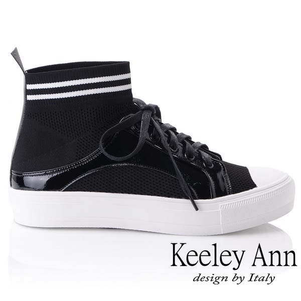 ★2018秋冬★Keeley Ann簡約百搭~襪子式橫條紋中筒透氣休閒鞋(黑色) -Ann系列