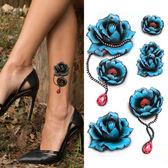 紋身貼 刺青 紋身貼防水女持久腳踝手臂藍色玫瑰花項鍊彩色紋身貼紙
