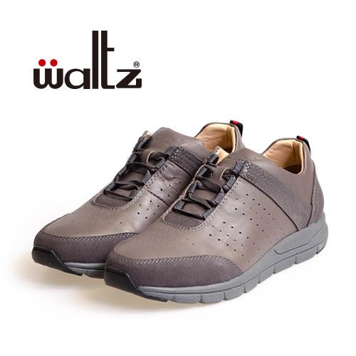 Waltz-真皮反毛皮混搭休閒鞋/男鞋622111-05(灰)