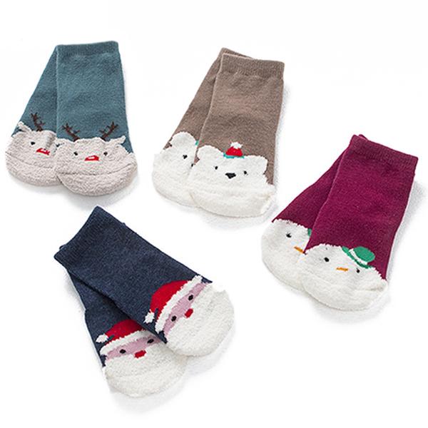 童襪 寶寶襪 聖誕立體短襪 嬰兒襪 聖誕老人 麋鹿 防滑襪 CA1191 好娃娃