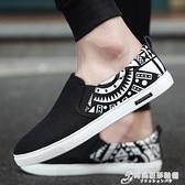新款男鞋夏季懶人鞋韓版潮流板鞋一腳蹬百搭帆布休閒豆豆布鞋