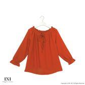 【INI】法式魅力、優雅船型領綁帶上衣.焦糖色