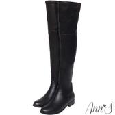 Ann'S正常版-激瘦素面平底彈力側拉鍊過膝靴-羊紋黑