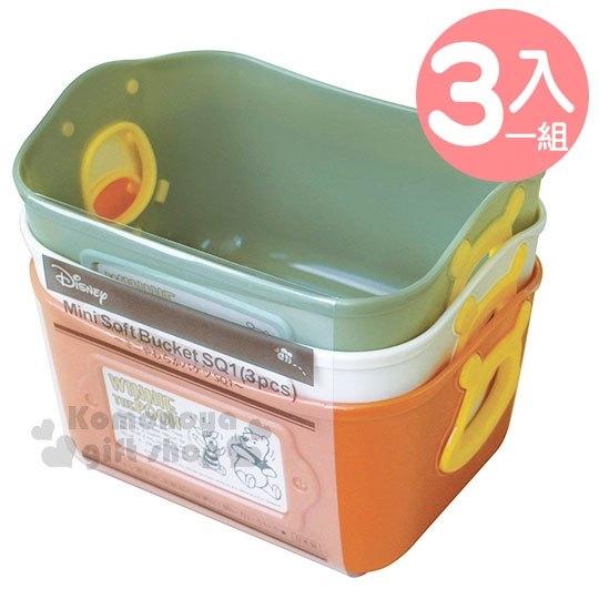 〔小禮堂〕迪士尼 小熊維尼 日製收納盒組《3入.橘米綠