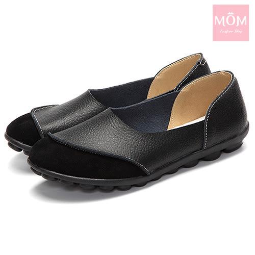 異材質拼接純色小圓頭舒適真皮樂福鞋 黑 *MOM*