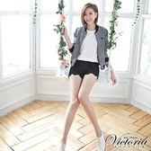 Victoria 蕾絲褲口拼接短褲-女-黑色