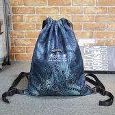 束口袋包  孔雀羽毛折疊束口包抽繩袋雙肩背包書包環保袋休閒港式潮街頭男女 『伊莎公主』