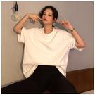 T恤 含棉2021早春新款韓版寬松百搭純色T恤上衣休閑中長款短《朵拉朵》
