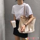 帆布包女包2021新款韓版大容量帆布包女側背ins學生文藝簡約百搭手提袋 愛丫 免運