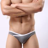 男內褲 超低腰露毛高叉三角褲(灰色)-XL【390免運全面86折】