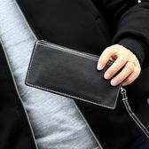 韓版男士錢包純色長款錢夾 簡約潮男式拉鍊皮夾 女錢包 手拎包 可可鞋櫃