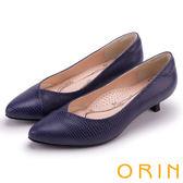 ORIN 典雅輕熟OL 簡約剪裁牛皮壓紋素面低跟鞋-藍色