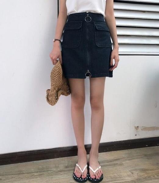 [超豐國際]女裝夏季修身顯瘦高腰包臀學生牛仔半身裙女(1入)
