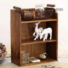 實木桌面三層收納櫃壁掛 創意化妝品置物架...