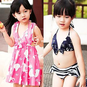 兒童比基尼泳裝+洋裝外罩衫│甜美貓咪3件式泳衣+泳褲.親子母女裝.溫泉泡湯spa游泳衣專賣店