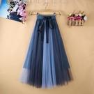 紗裙 2020春夏新款百摺裙中長款A字拼色網紗半身裙垂感紗裙女半身顯瘦 漫步雲端