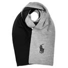 POLO RALPH LAUREN小馬logo雙色羊毛圍巾(灰黑色)780915-2