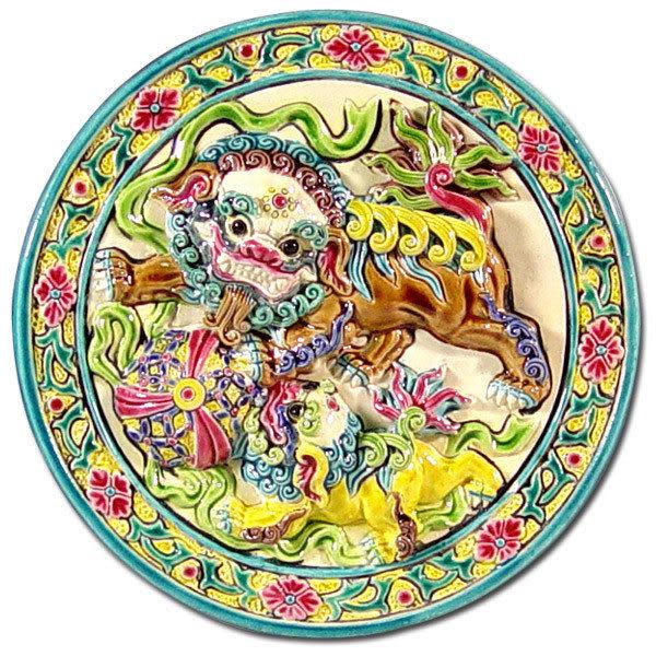 鹿港窯-居家開運商品-台灣國寶交趾陶裝飾壁飾-立體框【M 雙獅戲球】