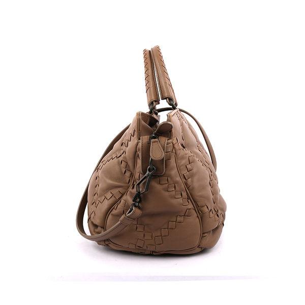 【BV/ BOTTEGA VENETA】 半編織小羊皮二用包(大象灰) BV19000003