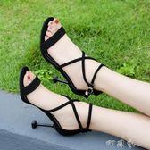 少女綁帶高跟鞋絨面性感細跟一字扣帶黑色涼鞋露趾女鞋 盯目家