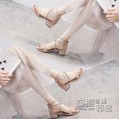 時裝涼鞋年新款女夏中跟超火配裙子網紅仙女風氣質粗跟綁帶 衣櫥秘密