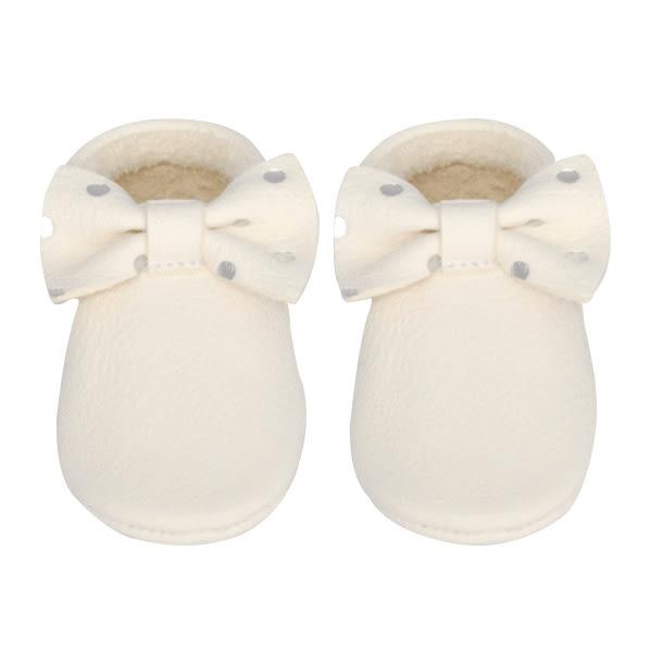 學布鞋/嬰兒鞋 Little Lambo 燙銀點點真皮蝴蝶結學步鞋 Bow Dots