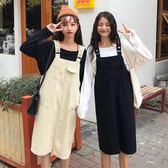 純色寬鬆中長款牛仔背帶裙女裙子韓版學生背心口袋洋裝 安妮塔小舖