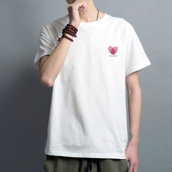 白色XL 情侶T 純棉短T MIT台灣製【Y0882-45】短袖-左胸愛情契約 指紋愛心love contract