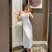 吊帶連身裙-鏤空拼接蕾絲緞面長洋裝74ag33【巴黎精品】