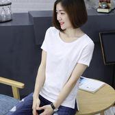 純白竹節棉夏大碼中年媽媽純棉短袖t恤寬鬆