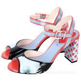 FENDI 漆皮圓點拼接小牛皮繫帶粗跟涼鞋(黑x灰x紅) 1530284-26