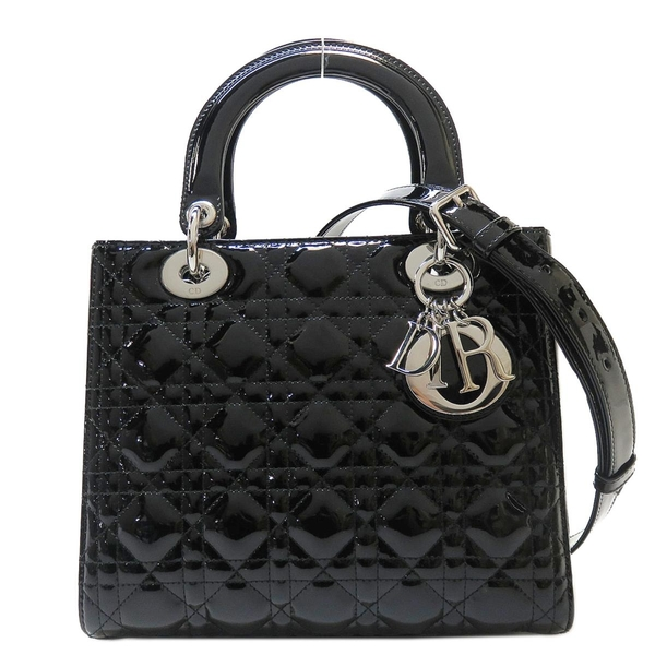 Dior 迪奧 黑色漆皮手提斜背2way包 黛妃包 Medium Ultramatte Lady Dior【BRAND OFF】