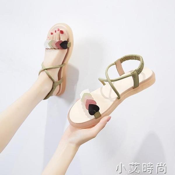 涼鞋女2021年新款夏季仙女風平底鞋網紅百搭學生沙灘羅馬女鞋子 小艾新品