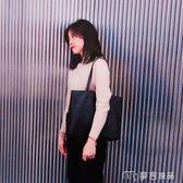 韓版女包新款潮簡約百搭手提包學生書包托特包休閒單肩大包包     麥吉良品