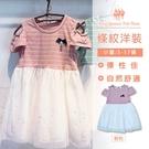 粉色條紋網紗連身裙 小洋裝 [10323] RQ POLO 5-17碼 春夏 阿里媽媽童裝 現貨